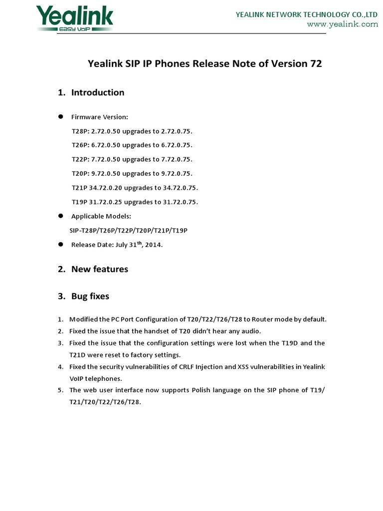 Yealink SIP Phones Relese Note of Version72 | Transport