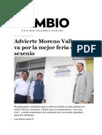 23-03-2016 Diario Cambio - Advierte Moreno Valle Que Va Por La Mejor Feria de Su Sexenio