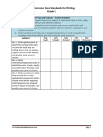 1st grade writing standards teacher checklist
