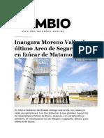 29-03-2016 Diario Cambio - Inaugura Moreno Valle El Último Arco de Seguridad en Izúcar de Matamoros