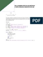 Resolución de La Primera Práctica de Métodos Numéricos Computarizados Mediante Matlab