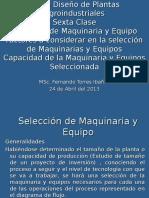 Sexta Sesion Diseño de Plantas Seleccion de Maquinaria y Equipo UNMSM 2013