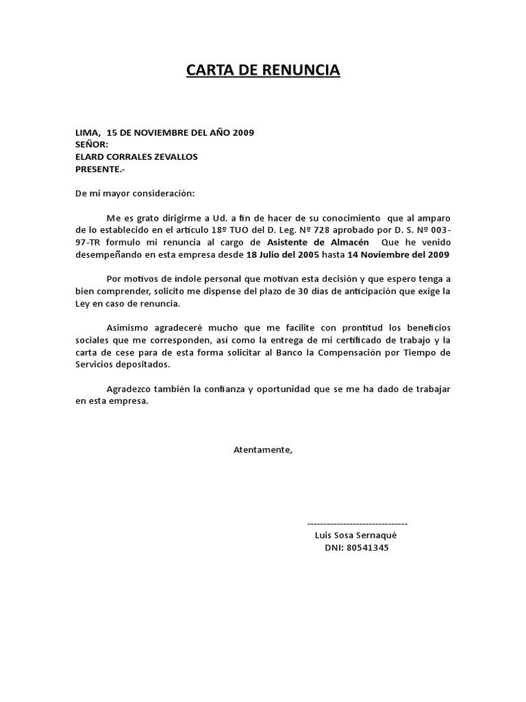 modelo de carta de renuncia en doc modelo de carta de renunciamodelo