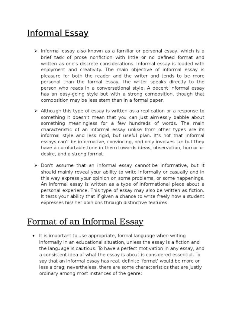 Informal essay samples