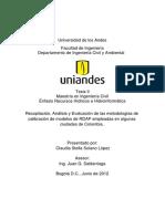 Recopilación, Análisis y Evaluación de Las Metodologías de Calibración de Modelos de RDAP Empleadas en Algunas Ciudades de Colombia