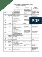 Cronograma - Geometria Analitica TERCA 2016.1