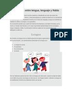 Diferencia Entre Lengua Lengaje y Habla