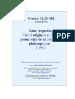 Blondel - Saint Augustin, l'Unité Originale Et La Vie Permanente de Sa Doctrine Philosophique