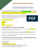 Características y Aplicaciones Del Polietileno de Baja Densidad (Todos)