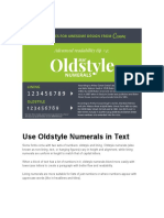 Use Oldstyle Numerals in Text