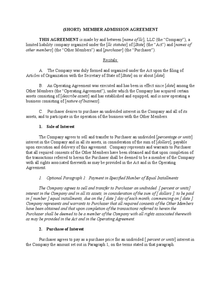 operating agreement for a single member llc