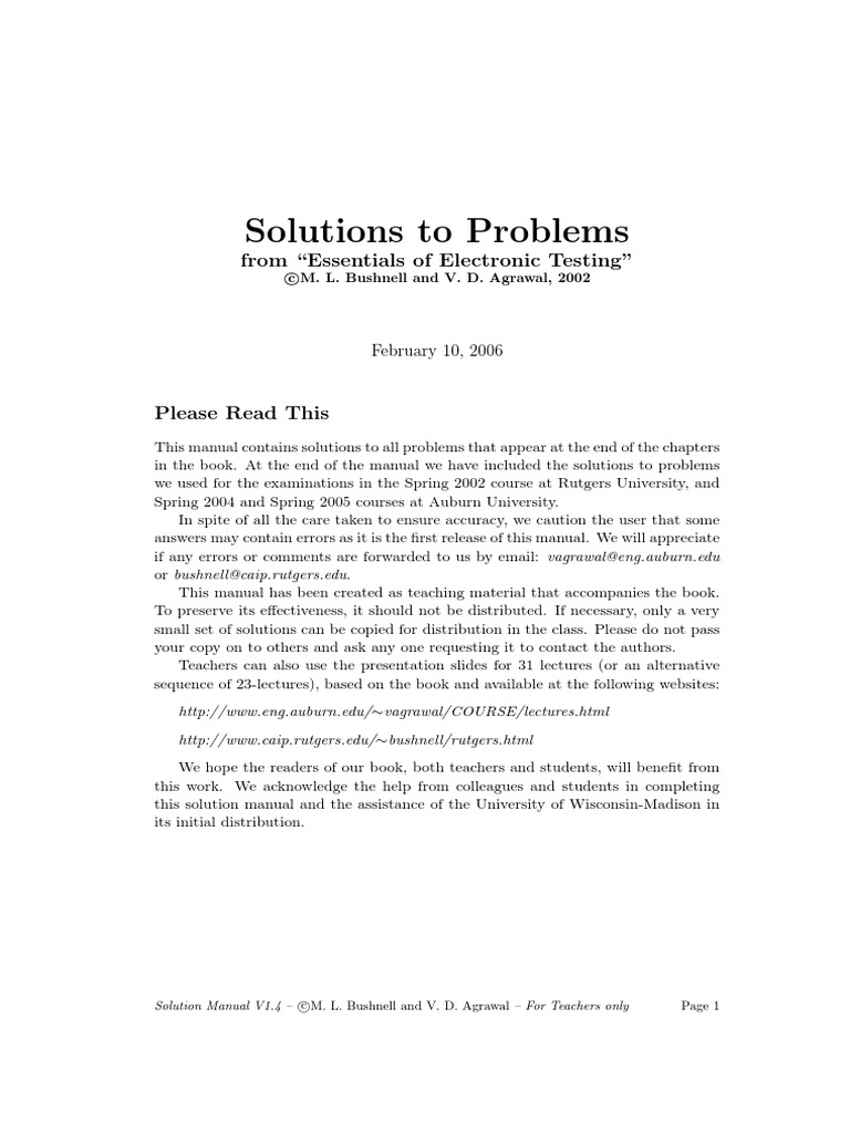 223237891 Solutions to Problems From Essentials of Electronic Testing |  Simulation | Integrated Circuit