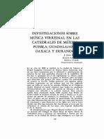 Investigaciones sobre música virreinal en las catedrales de México, Puebla, Guadalajara, Oaxaca y Durango - J. Jesús Estrada