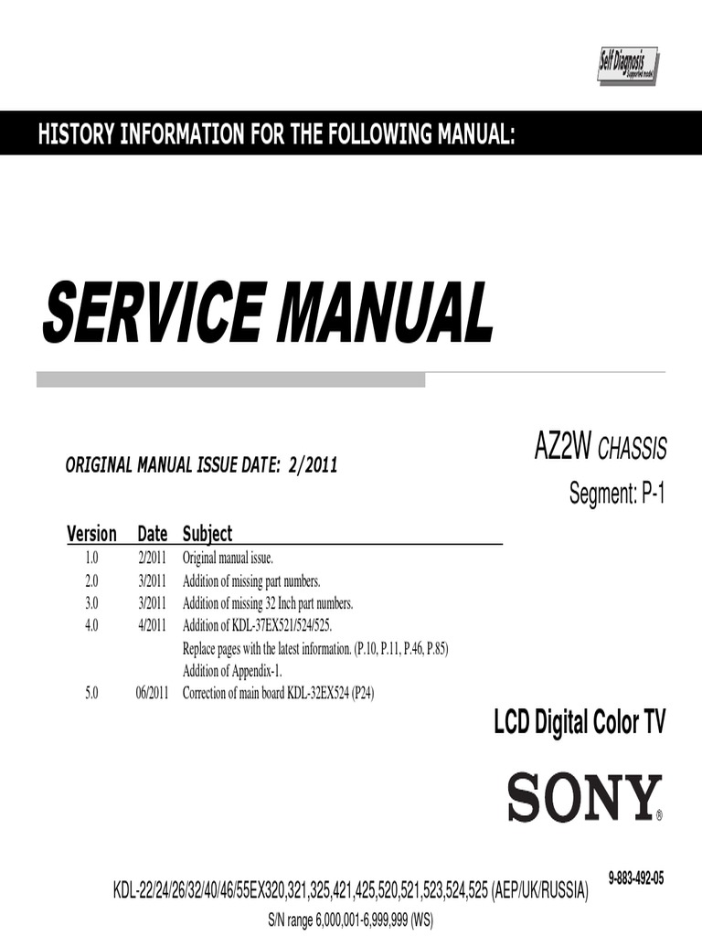 Sony kdl-22ex320 manual