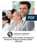 Curso Auditoria Prevencion Riesgos Laborales Oshas18001
