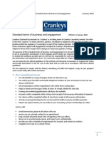 Terms of Business for Cranleys Chartered Accountants as at  01 Janaury 2010