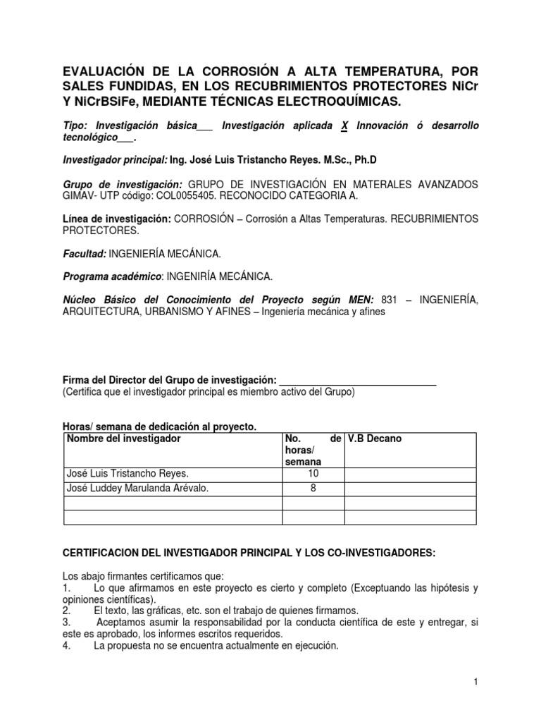 Proyecto Evaluación de La Corrosión a Alta Temperatura, Por Sales ...