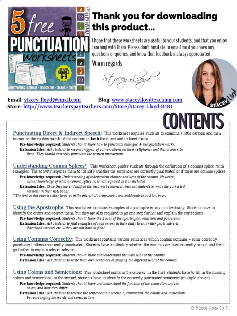5 Free Punctuation Worksheets Comma – Colons and Semicolons Worksheet