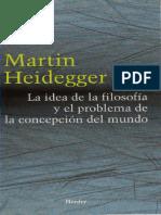 La Idea de La Filosofia y El Problema de La Concepcion Del Mundo, Heidegger