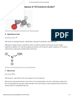 10 Common Acids and Chemical Structures