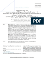Validity of Minnesota Multiphasic Personality Inventory – 2 – Restructured Form (MMPI-2-RF) Scores as a Function of Gender, Ethnicity, And Age of Bariatric Surgery Candidates