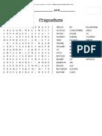 Prepositions Word Search Grammar Language School  3rd 4th Grade Worksheet Activity