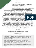 Town of Maysville, Oklahoma, a Municipal Corporation v. Magnolia Petroleum Company, a Texas Corporation, Pan American Petroleum Corporation, a Delaware Corporation, Blackwell Zinc Company, Inc., a New York Corporation, Climax Molybdenum Company, a Delaware Corporation, Maracaibo Oil Exploration Corporation, a Delaware Corporation, Ardie Oil & Gas Company, an Oklahoma Corporation, Continental Land & Fur Company, a Delaware Corporation, Atchison, Topeka and Santa Fe Railway Company, a Kansas Corporation, W. A. Balentine, J. M. McDaniel H. E. Ledbetter, Hugh Ledbetter, G. A. Brown, E. M. Young, L. A. Nordan, J. M. Flaitz, R. B. Mitchell, Lona Gardner, Eugene Leach, Ruby Leach, Lula Henderson, Chris Sterr, C. Radden, Overa Radden, Etta Mae Ivey, Paul Christ, T. M. Ridgeway, D. C. Ridgeway, Roy Barrett, Jewel R. Burrow, J. C. Thompson, William Rayburn Amos, T. G. Mays, Raymond Dills and Earl Sparks, 272 F.2d 806, 10th Cir. (1959)