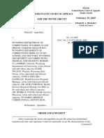 Chapman v. Wyoming Dept. of Corrections, 10th Cir. (2015)