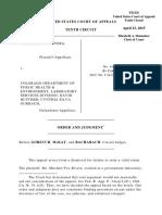Fox-Rivera v. CO Dept. of Public Health, 10th Cir. (2015)