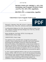 Transport Workers Union of America, Afl-Cio, an Unincorporated Association, and Transport Workers Union of America, Local No. 514, Afl-Cio v. American Airlines, Inc., a Corporation, 413 F.2d 746, 10th Cir. (1969)