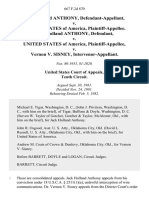 Jack Holland Anthony v. United States of America, Jack Holland Anthony v. United States v. Vernon v. Sisney, Intervenor-Appellant, 667 F.2d 870, 10th Cir. (1982)