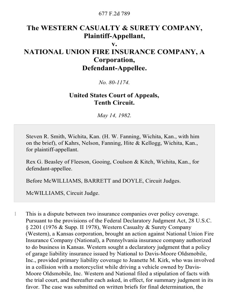 The Western Casualty & Surety Company v. National Union ...