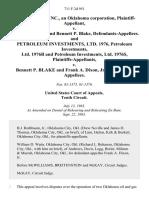 Reserve Oil, Inc., an Oklahoma Corporation v. Frank A. Dixon and Bennett P. Blake, and Petroleum Investments, Ltd. 1976, Petroleum Investments, Ltd. 1976b and Petroleum Investments, Ltd. 1976s v. Bennett P. Blake and Frank A. Dixon, Jr., 711 F.2d 951, 10th Cir. (1983)
