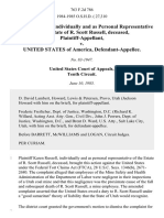 Karen Russell, Individually and as Personal Representative of the Estate of R. Scott Russell, Deceased v. United States, 763 F.2d 786, 10th Cir. (1985)