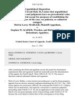 Melvin Leroy Mahler v. Stephen W. Kaiser, Warden, and Richard Henry, 936 F.2d 583, 10th Cir. (1991)