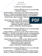 Jackie G. Durant v. Independent School District No. 16 of Leflore County, State of Oklahoma, Also Known as the Leflore Public Schools Dorsey L. Adams, in His Official Capacity as Superintendent of Schools and in His Individual Capacity Leona Williams David Owens Alton Carpenter, and Daniel Ingle and Wayne Wolfe, in Their Official Capacities as Members of the Board of Education for the Leflore Public Schools and in Their Individual Capacities, Jackie G. Durant v. Independent School District No. 16 of Leflore County, State of Oklahoma, Also Known as the Leflore Public Schools Dorsey L. Adams, in His Official Capacity as Superintendent of Schools and in His Individual Capacity Leona Williams David Owens Alton Carpenter, and Daniel Ingle and Wayne Wolfe, in Their Official Capacities as Members of the Board of Education for the Leflore Public Schools and in Their Individual Capacities, Jackie G. Durant v. Independent School District No. 16 of Leflore County, State of Oklahoma, Also Known as