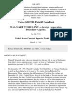 Wayne Kroth v. Wal-Mart Stores, Inc., a Foreign Corporation, 19 F.3d 33, 10th Cir. (1994)