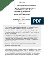 Jess Aylett and Barbara Aylett v. Secretary of Housing and Urban Development, on Behalf of Bobbie Burris, and Bobbie Burris, Intervenor, 54 F.3d 1560, 10th Cir. (1995)