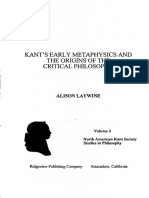 Laywine Kants Early Metaphysics and the Origins of the Critical Philosophy
