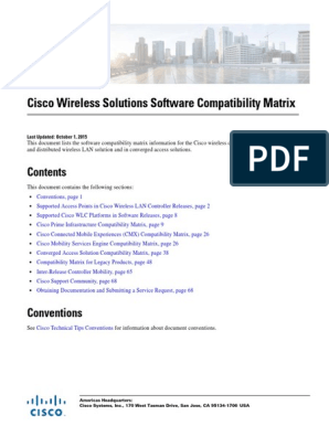 Compatibility Matrix WLC | Wireless Access Point | Cisco Systems