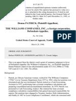 Donna Patrick v. The Williams Companies, Inc., a Foreign Corporation, 81 F.3d 173, 10th Cir. (1996)