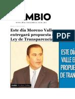 27-04-2016 Diario Cambio - Este Día Moreno Valle Entregará Propuesta de Ley de Transparencia