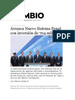 20-06-2016 Diario Cambio - Arranca Nuevo Sistema Penal con inversión de 704 millones