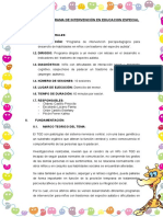 Modelo de Programa de Intervención en Educacion Especial (
