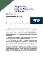 Sobre o Projeto de Constituição Da República Popular Da China