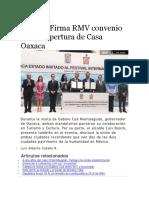 11.05.16 Firma RMV Convenio Para La Apertura de Casa Oaxaca