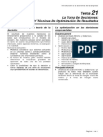 Introducción a La Economía de La Empresa (Uned) - La Toma de Decisiones - Incertidumbre Y Técnicas de Optimización de Resultados