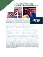4 de Julio Declaración de Independencia de Los Estados Unidos
