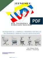 MANEJO EFICAZ – LIMPIEZA  Y DESINFECCIÓN DE LAS  INCUBADORAS Y SERVOCUNAS EN NEONATOLOGÍA