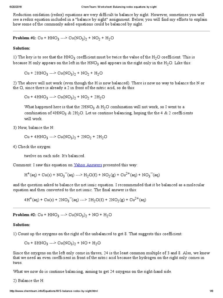 ChemTeam_ Worksheet_ Balancing Redox Equations by Sight ...